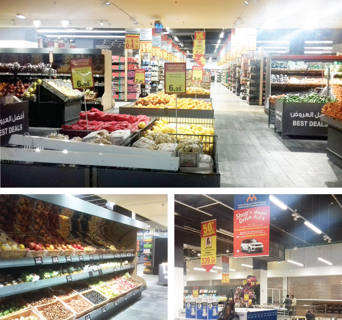 E.NEXT-Group have designed the project and supplied equipment for illumination of hypermarket Ajman in United Arab Emirates.